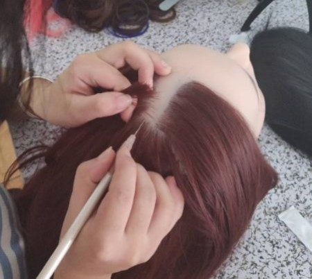 Implanted hair for sex doll